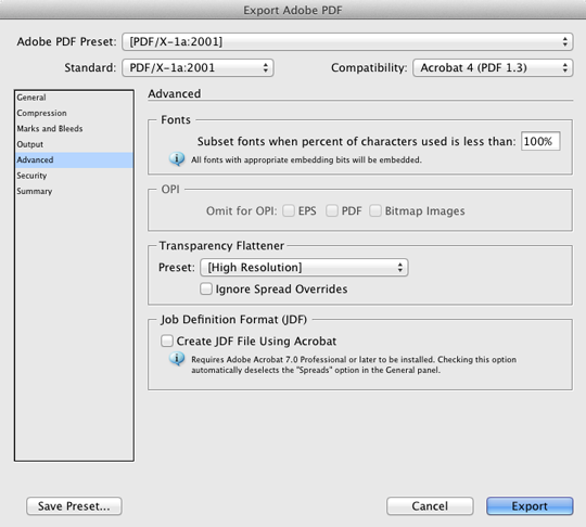 InDesign PDF Export Advanced Settings