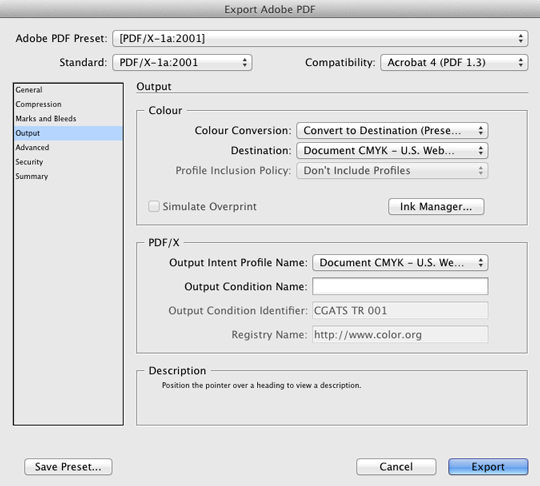 InDesign PDF Export Output Settings