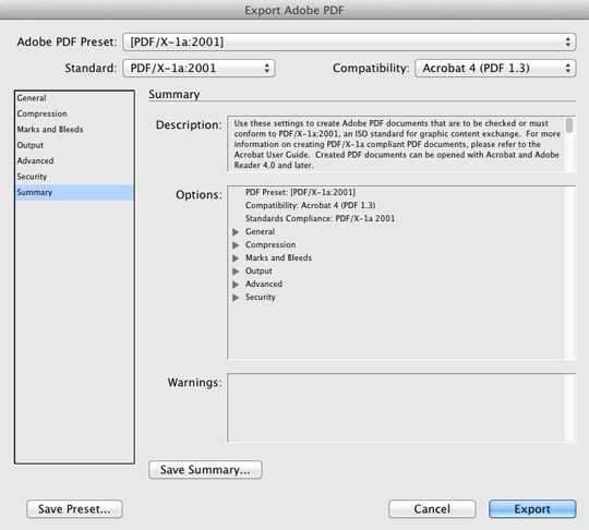 InDesign PDF Export Summary Settings