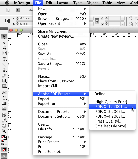 InDesign PDF Export menu